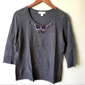 Coldwater Creek Jeweled Grey Crew Sweater